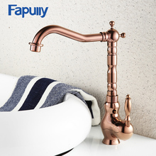 Fapully European Style Bathroom Sink Faucet Single Hole Rose Gold Polish Basin Mixer Tap Water Faucets 589-22R