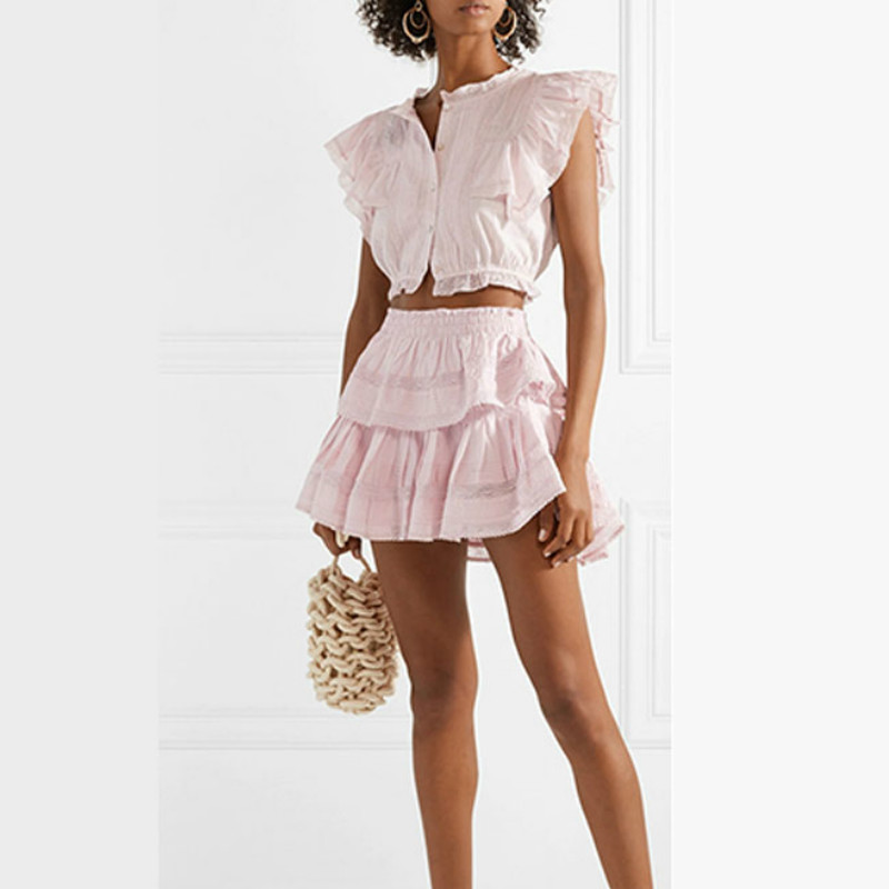 High Quality 2019 Summer Beach Holiday Women Sets Blouse And Skirts White Pink Blue
