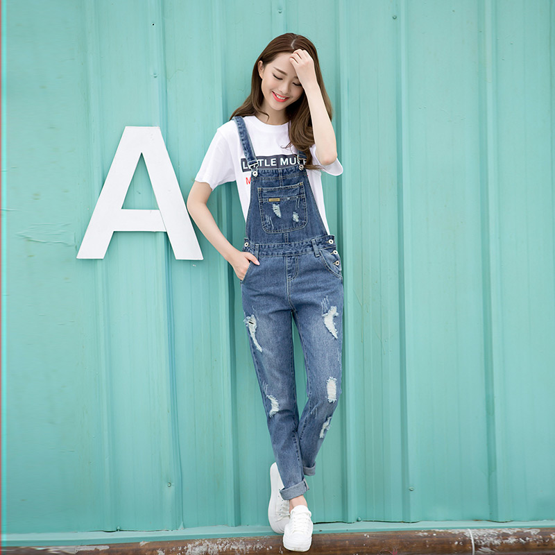 Spring Fashion Ripped Jeans Jumpsuits Ladies Girls long ...