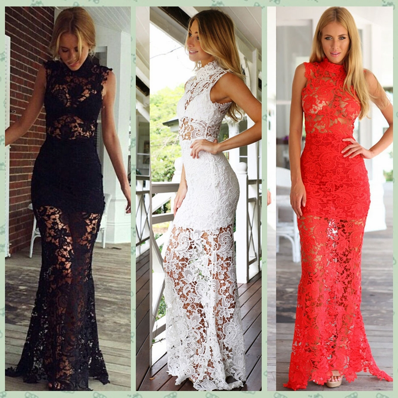 Black And Nude Lace Long Dress