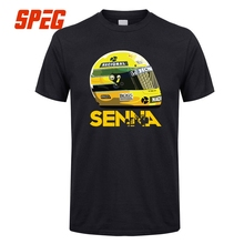 T Shirts Ayrton Senna Helmet Tops  1  Race Tees Man Cotton Short Sleeve T-Shirts Classic Youth Men Cotton O Neck