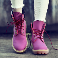 Autumn Pink Women Boots 2016 Winter New Fashion Flat Shoes Genuine Leather White Flat Martin Ankle