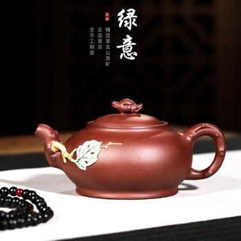 Purple Sand Teaware Ore Mine Purple Mud Green Purple Sand Ceramic Flower State Worker Pan Hongjun Hand-painted Teapot