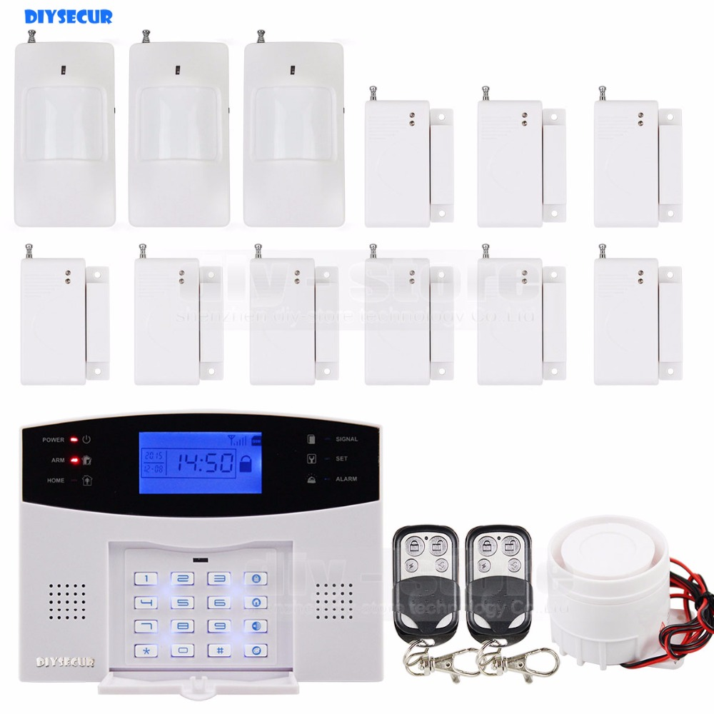 DIYSECUR High Sensitivity GSM Sms Home House Alarm System Lcd Screen + 3 Sensors Pir + 9 Door/window + 2 Remote Control 16 ports 3g sms modem bulk sms sending 3g modem pool sim5360 new module bulk sms sending device