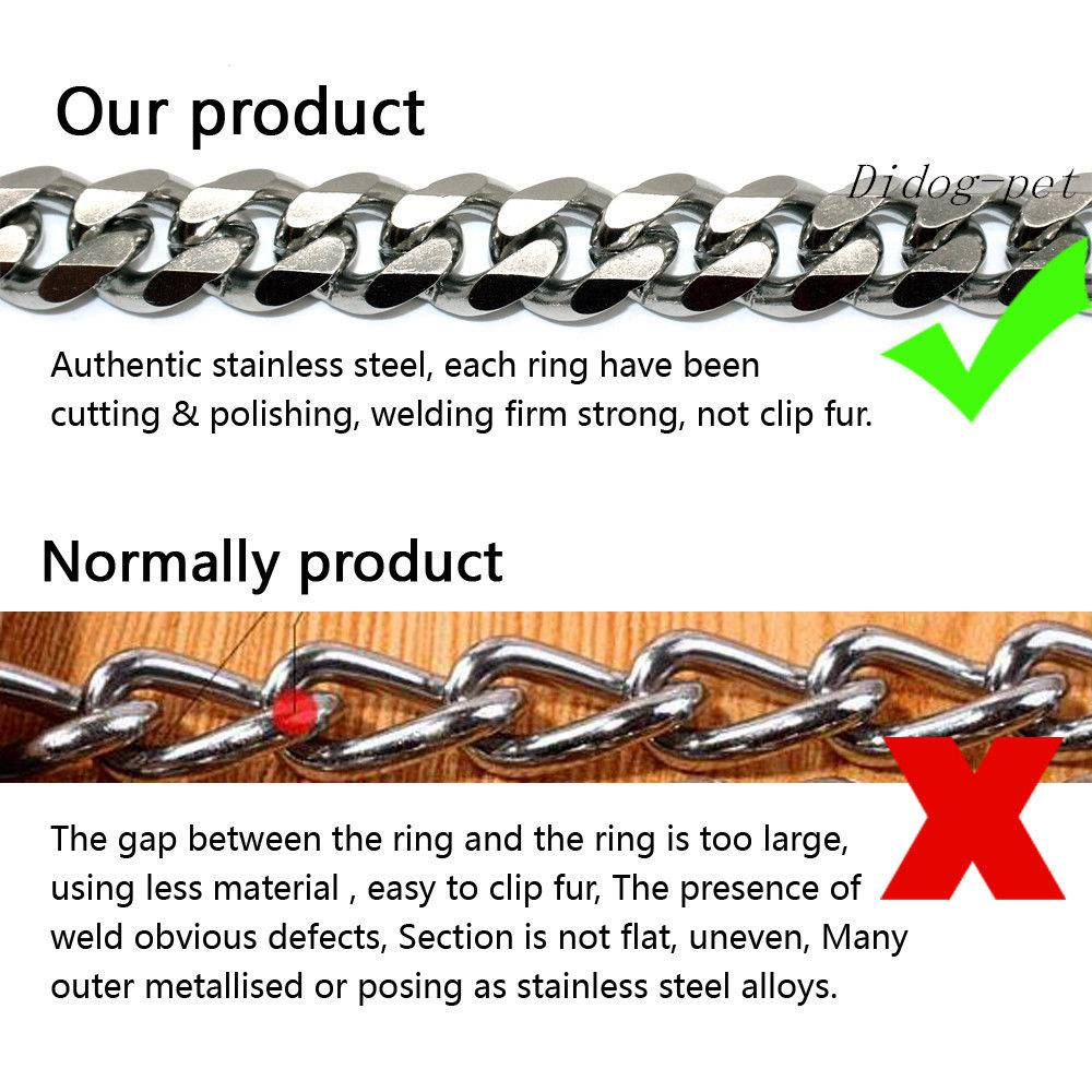 Stainless Steel Chain Dog Collars Durable for Medium Large Dogs Training Pitbull in Collars from Home Garden