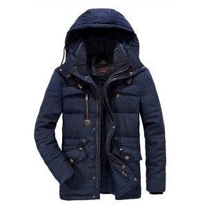 Image 4 - Mannen Winter Jas Dikke Warme Parka Fleece Fur Hooded Militaire Jas Katoen Jas Sneeuw Weer Mannelijke Windjack Jassen Plus Size