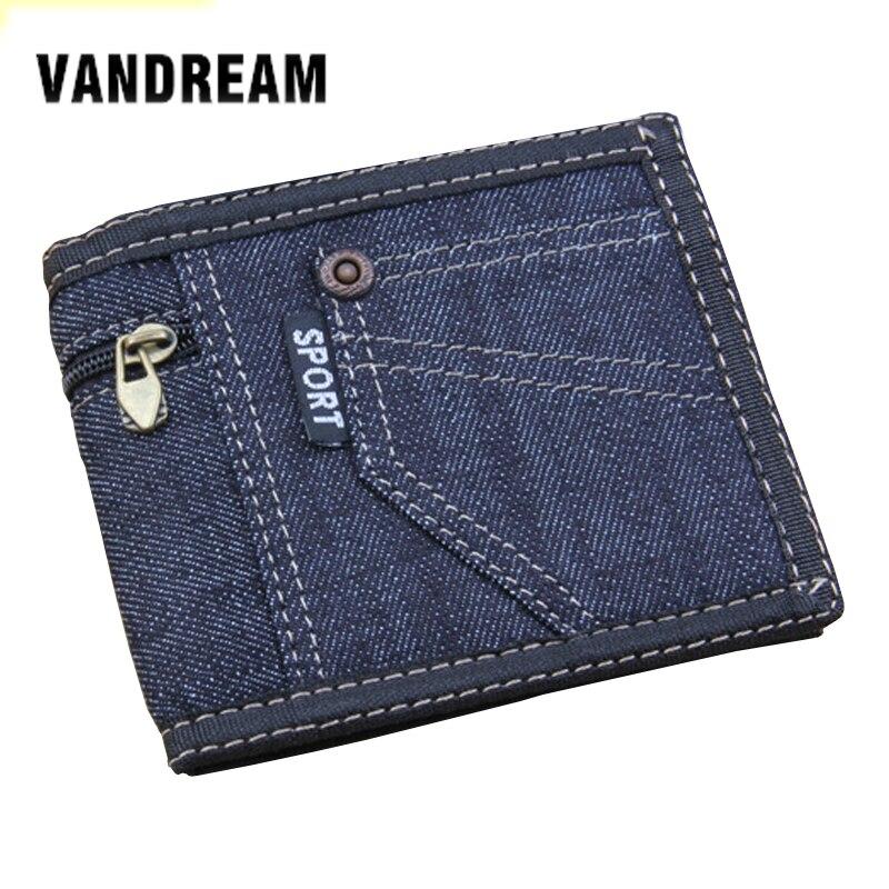 Men's Wallets Wallet Purses Men Canvas Slim Short Wallet With Card Holder Boy Denim Multifunction Wallet  Multi Pockets Purse