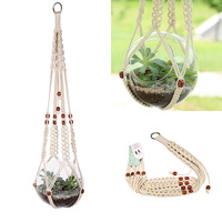 Macrame Plant Hanger Jute With Beads Handmade Hanging Planter Holder For Round Square Containers Pots Cotton