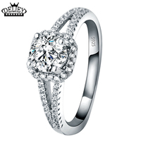Free Shipping 100 Genuine 925 Sterling Silver Wedding Rings 6mm CZ Diamond For Women Anniversary Engagement