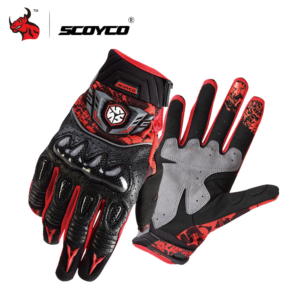 SCOYCO Motorcycle Gloves Carbon Fiber Moto Gloves Summer Men Breathable Motocross Gloves Leather Guantes Moto M
