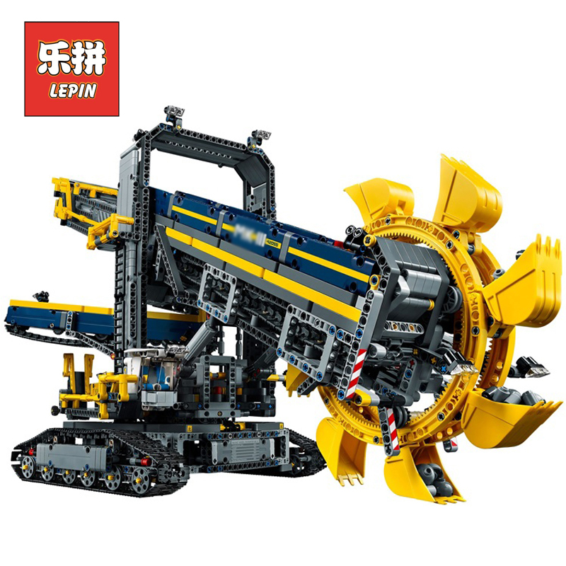 2018 New LEPIN 20015 3929Pcs Technic Bucket Wheel Excavator Model Building assemble Kit Blocks Brick Compatible Toy Gift 42055 196pcs building blocks urban engineering team excavator modeling design