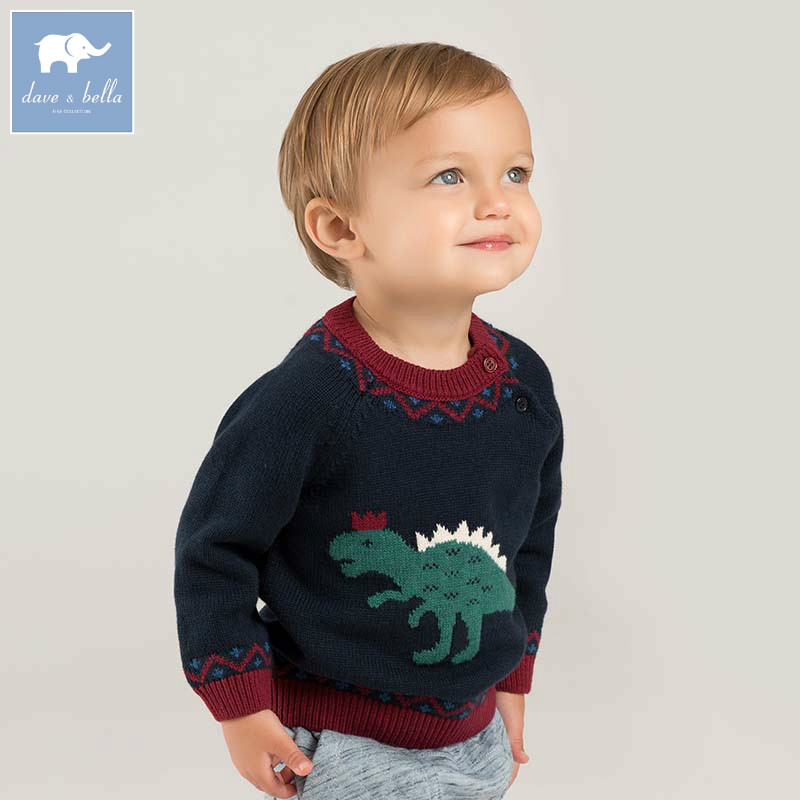 DBW8620 dave bella baby boys sweater children dinosaur print knitted sweater kids autumn pullover toddler boutique tops rabbit print pullover