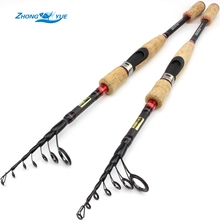 Free shipping 2.1m2.4m Carbon Spinning Fishing Rod Bass Fishing Tackle Lure Rods Vara De Pesca Telescopic Fishing Stick