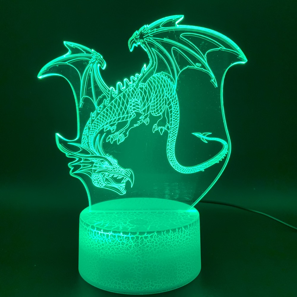 Novelty Lights Dragon Office Home Decoration Light Child Gift Kids Bedroom Dinosaur Pterosaurs 3D Illusion Led Night Light Lamp