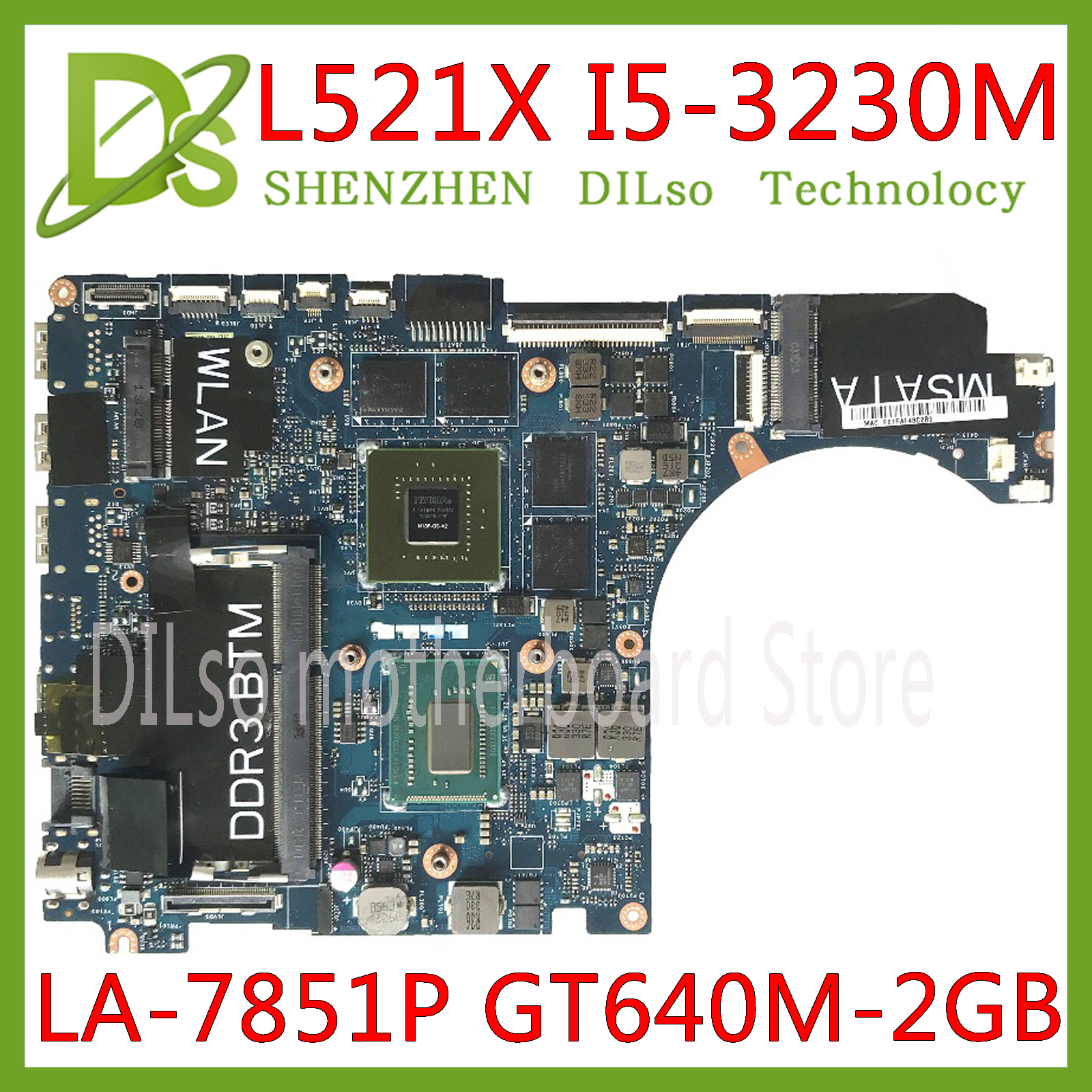 KEFU QBL00 LA-7851P motherboard FOR Dell XPS 15 L521X Laptop Motherboard <font><b>I5</b></font>-<font><b>3230M</b></font> DDR3L GT640M 2GB Fully Tested 100% work image