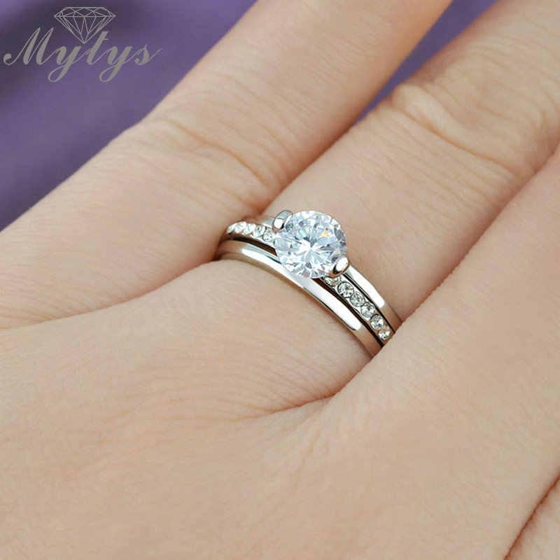 Mytysแฟชั่น3-2วงแหวนแต่งงานเจ้าสาวสีขาวG Oldสีเพทายแหวนเขี้ยวตั้งR106