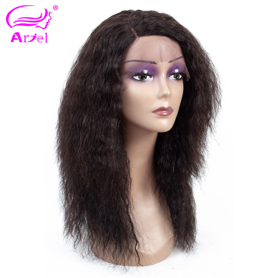 ARIEL 13 4 Lace Front Human Hair Wigs Kinky Straight Peruvian Remy Wigs Natural Color 130