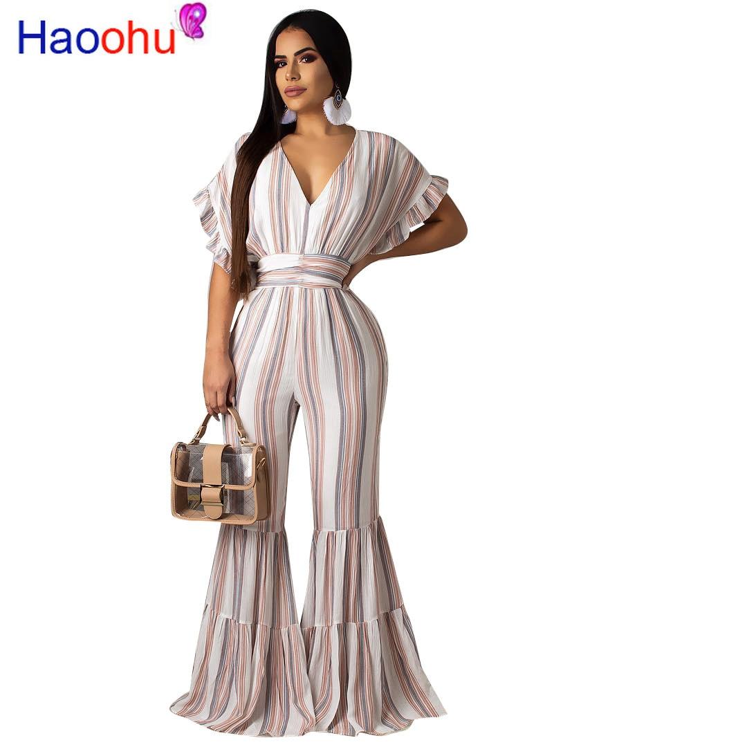 HAOOHU 2019 New Sexy Elegant Style Fashion Women   Jumpsuits   Striped V-Neck Short Batwing Boot Cut Romper