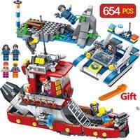 City Police Series Compatible LegoINGLYS Guardian Profile Building Bricks Blocks Submarine Amphibious Tank Children Toys