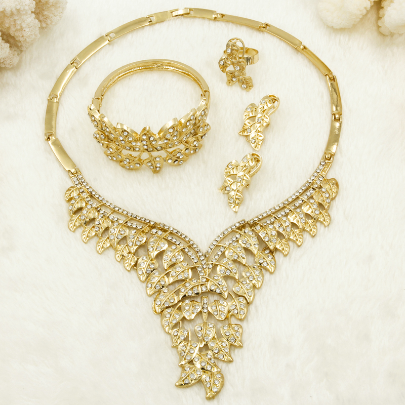 US $13 99 50% OFF|2019 Fashion Dubai Luxury Crystal Wedding Gold Jewelry  Sets Leaf Design Necklace Dangle Earrings Ring Bracelet Bridal Jewelry-in