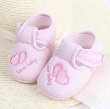 Cheap Baby Shoes Solid Cotton New Born Baby Girl Shoes Toddler First Walkers For 0-18 Month Baby Moccasins Sneaker Crib Shoes(China)