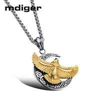 2 יח'\חבילה Mdiger מעורב צורת נשר שרשרת תליון טיטניום פלדת רוז זהב גברים של תכשיטי שרשרת לולאות תליון שרשרת ארוכה