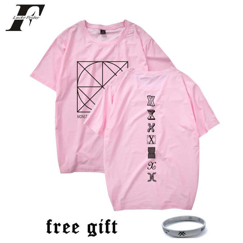 db58d4cf936 LUCKYFRIDAYF 2018 MONSTA X Kpop T-shirt Women Men Cotton Tee Shirt Fans  Korean
