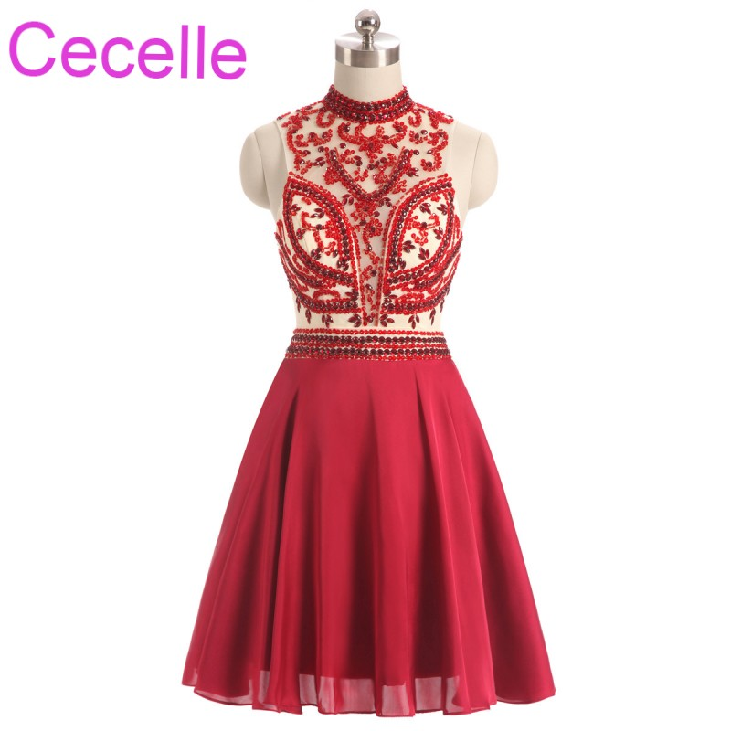 Red Chiffon Short Cocktail Dresses 2018 Sleeveless High Neck Beaded