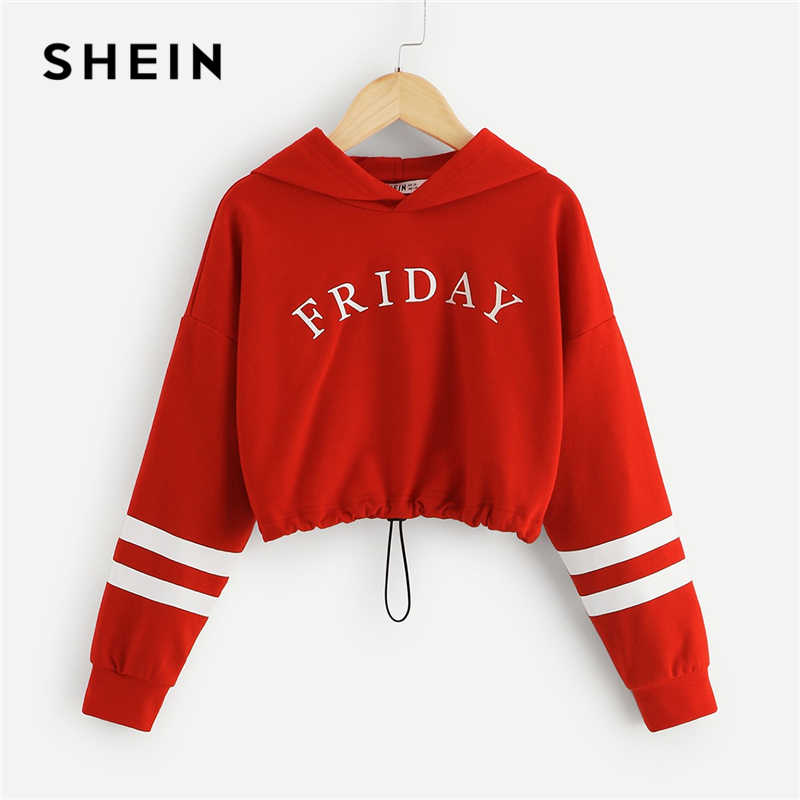SHEIN Red Girls Letter Front Crop Casual Hoodies Girls Tops 2019 Spring Korean Fashion Long Sleeve Crop Sweatshirts For Girls