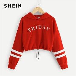 SHEIN Red Girls Letter Front Crop Casual Hoodies Girls Tops 2019 Spring Korean Fashion Long Sleeve Crop Sweatshirts For Girls