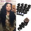 Beauty Code Hair 4 Bundles Peruvian Body Wave with Closure Grade 8a Peruvian Virgin Hair Body Wave with 4x4 Swiss Lace Closure