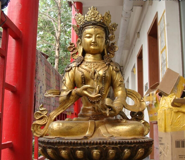bi003100 Tibet Temple classical Bronze Gild Vajradhara Bodhisattva Buddha Statuebi003100 Tibet Temple classical Bronze Gild Vajradhara Bodhisattva Buddha Statue