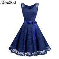 Kostlich 2017 Lace Summer Dress Women V Neck Sleeveless Belt Tunic Hepburn 50s Vintage Dress Sexy