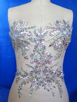 A65 Handmade clear AB colour crystal patches sew on trim Rhinestones applique with stones sequins beads 34*34cm for dress