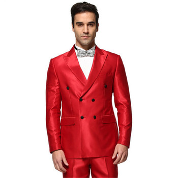 2018Top Quality Red satin Mens Suits blazer with pants Double Breasted Groom Tuxedo wedding Homecoming men Suit (Jackets+Pants)