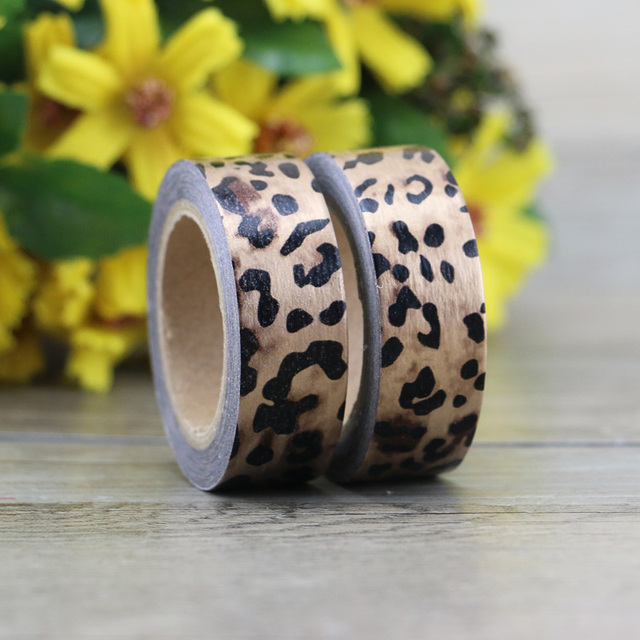 Merveilleux Leopard Foil Washi Tape 10m Kawaii Scrapbooking Tools Japanese Stationery  Adesiva Decorativa Tapes School Office Supply