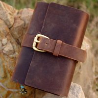 Free shipping handmade cowhide leather notepad tsmip diary doodle book blank kraft paper notebook 2011615