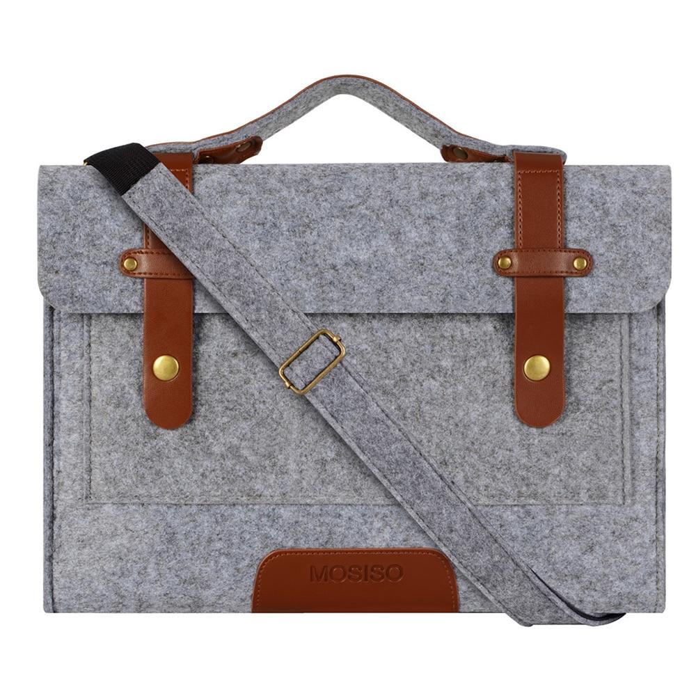Mosiso Women Men Felt Laptop Shoulder Bag for Macbook Air Pro 13 15 Dell Acer HP 13.3 15.6 inch Notebook Strap Case