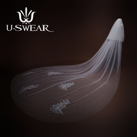U SWEAR 2018 New Arrival High grade White Down Appliqued Women Wedding Veil Two Layers Cut Edge Cathedral Veil For Wedding Dress