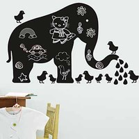 Elephant and Birds Film Top Grade Creative Chalkboard Wall Sticker Vinyl Wall Decals Removable Poster