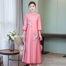 Pink Mesh silk Dress Midi Modern Chinese Dresses Woman Party Night Elegant Vintage 2019 Summer embroidery Robe Zipped Clothes цена и фото