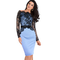 Women Belted Elegant Pinup Celebrity Lace Crochet Tunic Stretch Colorblock Bodycon Evening Party Pencil Sheath Dress