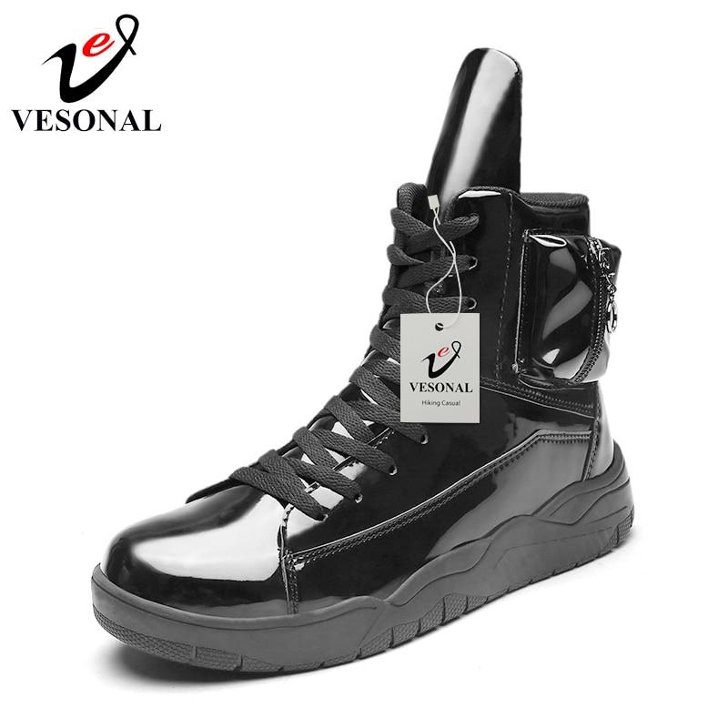 Vesonal red Populaire Hiver En Sneakers Boots Boots Mâle Chaussures Pour Marche Black 2018 Martin Cuir Adulte white Imperméables Hommes Bottes Pu mollet Mi Travail Boots rq1ctr6w