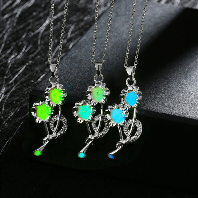 Chain 925 Silver 1Pcs18 Inches Sweet And simple Long Clavicle Chain Luminous style 13 Pendnant Necklace