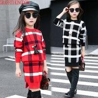 בוטיק שתי סט פיסת בנות סוודרים משובצים + חצאיות סרוגות ילדים באביב ובסתיו אופנה ביגוד סטים למעלה וחצאיות