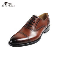 STARFARM Luxury Brand 2017 Fashion Oxford Shoes Men Business Formal Dress Shoes Handmade High Quality Genuine