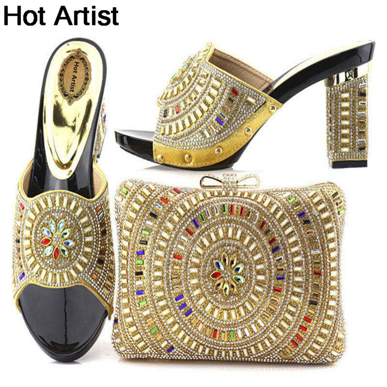 Hot Artist New Arrival Italian Elegant Woman Shoes With Bags Sets African High Heels Shoes And Bags Set For Wedding Party YTH-15 capputine new arrival fashion shoes and bag set high quality italian style woman high heels shoes and bags set for wedding party
