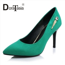 DoraTasia Big Size 32-42 Sexy Women Thin High Heels Party Wedding Pumps Fashion Pointed Toe Metal Charm Less Platform Shoes
