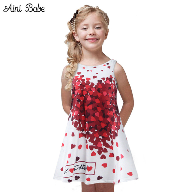 2018 Baby Girl Summer Casual Style Dress Sweet Heart Print Cotton ...