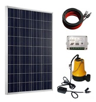 Solar Pump Kit: 100 Watts Poly Solar Panel & 12V Water Pump for Pond, Fountain, Water Feature, Hydroponics, Aquarium
